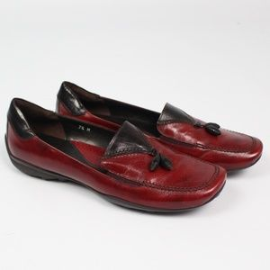 Sesto Meucci red black loafers tassels moccasins